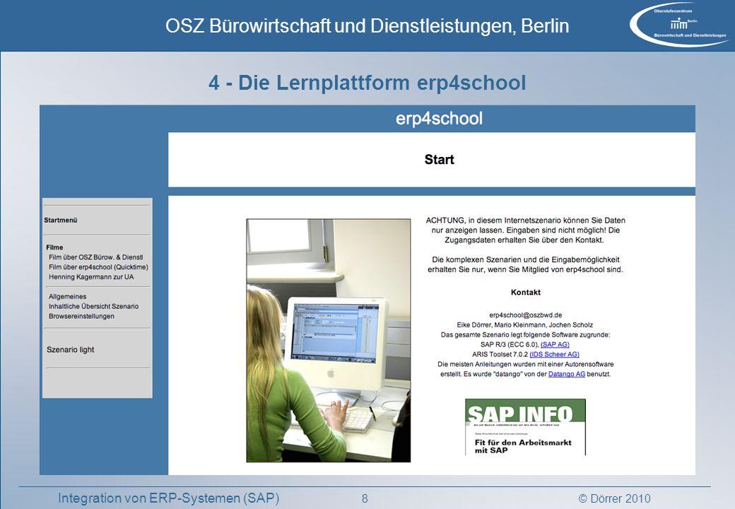 © Dörrer 2010 OSZ Bürowirtschaft und Dienstleistungen, Berlin 8 Integration von ERP-Systemen (SAP) 4 - Die Lernplattform erp4school