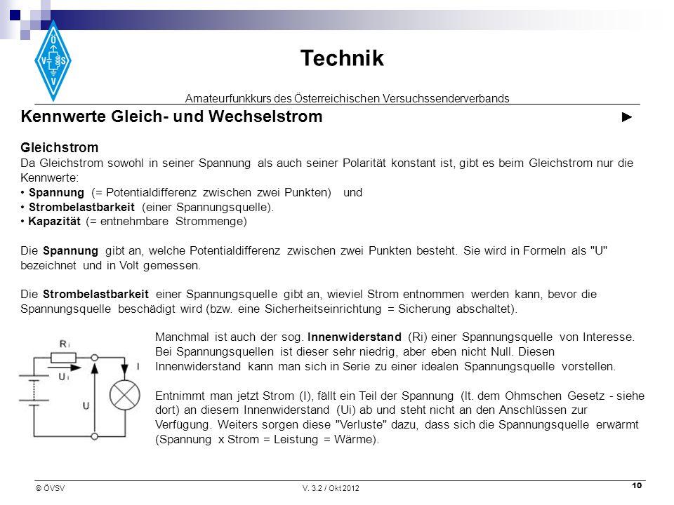 Amateurfunkkurs des Österreichischen Versuchssenderverbands Technik © ÖVSVV. 3.2 / Okt 2012 10 Kennwerte Gleich- und Wechselstrom Gleichstrom Da Gleic