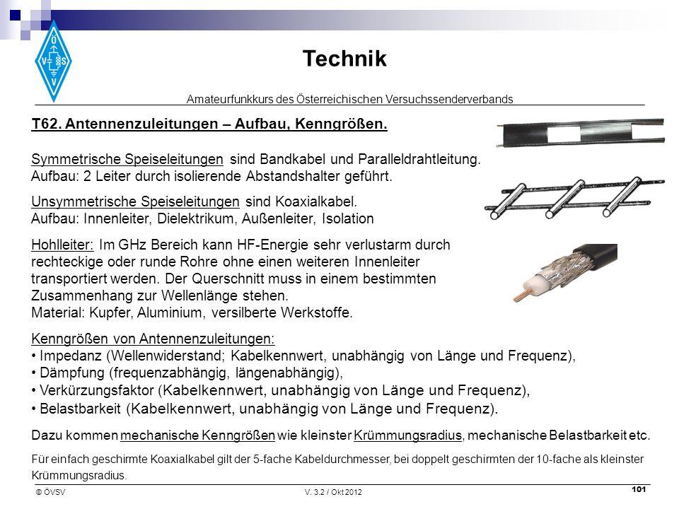 Amateurfunkkurs des Österreichischen Versuchssenderverbands Technik © ÖVSVV. 3.2 / Okt 2012 101 T62. Antennenzuleitungen – Aufbau, Kenngrößen. Symmetr