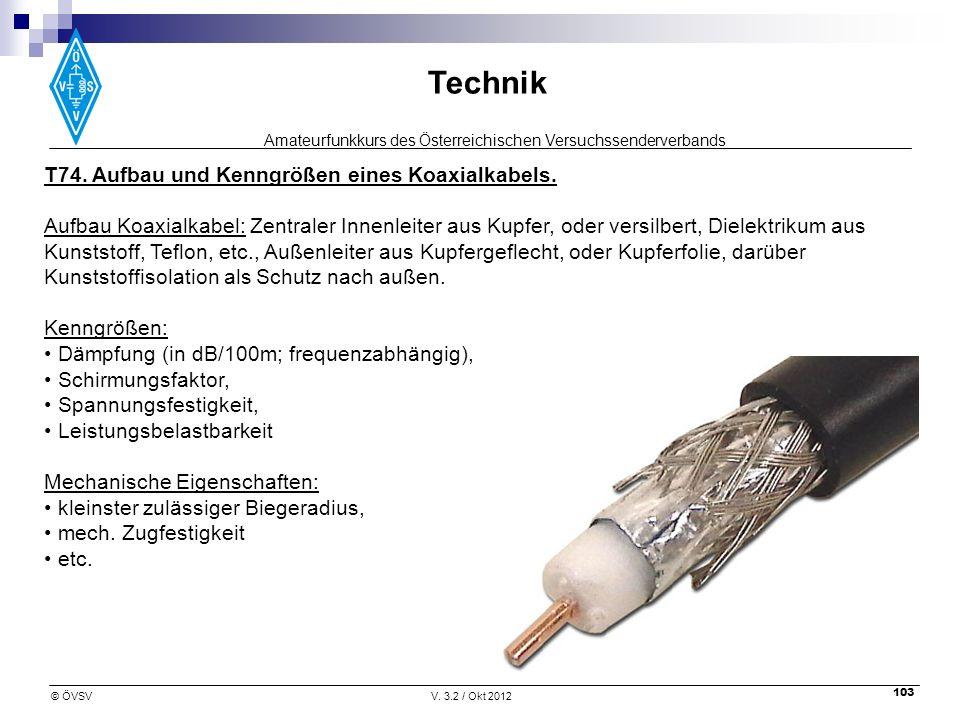 Amateurfunkkurs des Österreichischen Versuchssenderverbands Technik © ÖVSVV. 3.2 / Okt 2012 103 T74. Aufbau und Kenngrößen eines Koaxialkabels. Aufbau