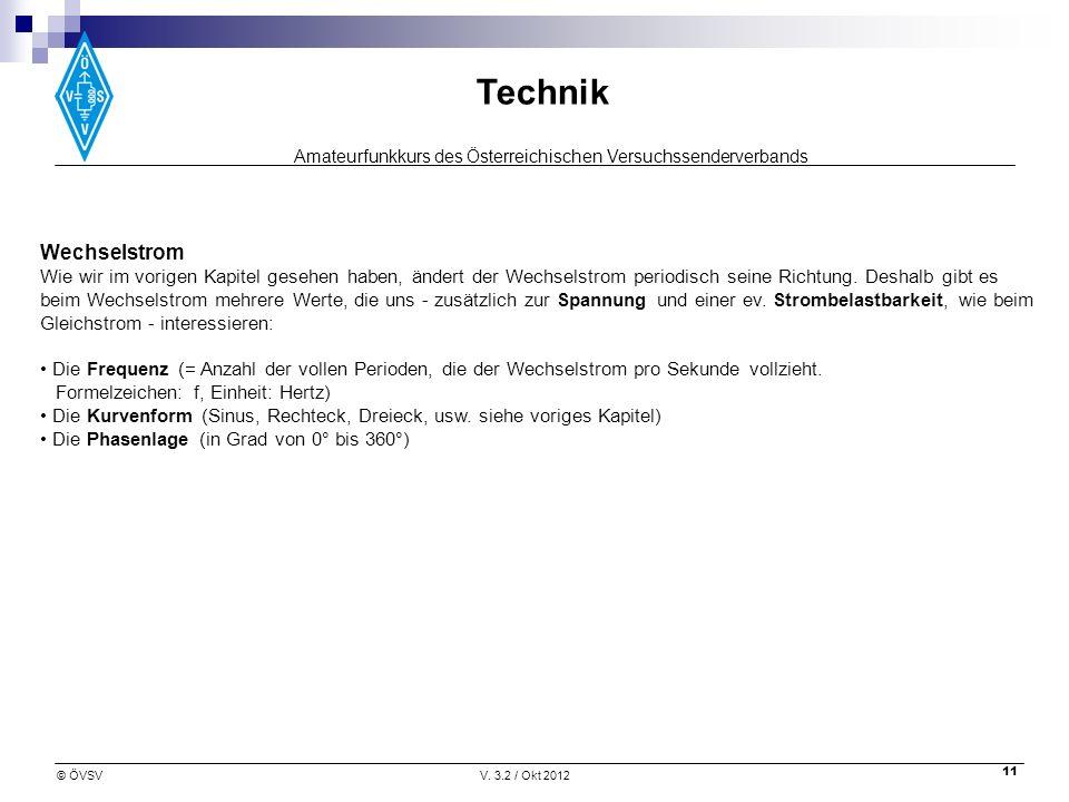 Amateurfunkkurs des Österreichischen Versuchssenderverbands Technik © ÖVSVV. 3.2 / Okt 2012 11 Wechselstrom Wie wir im vorigen Kapitel gesehen haben,