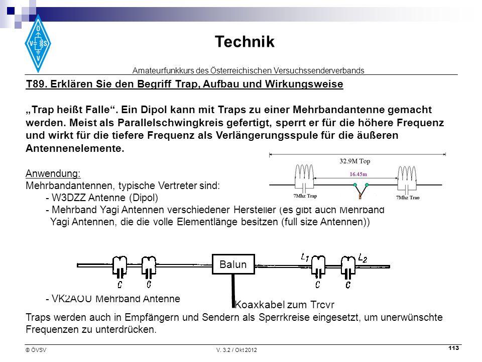 Amateurfunkkurs des Österreichischen Versuchssenderverbands Technik © ÖVSVV. 3.2 / Okt 2012 113 T89. Erklären Sie den Begriff Trap, Aufbau und Wirkung