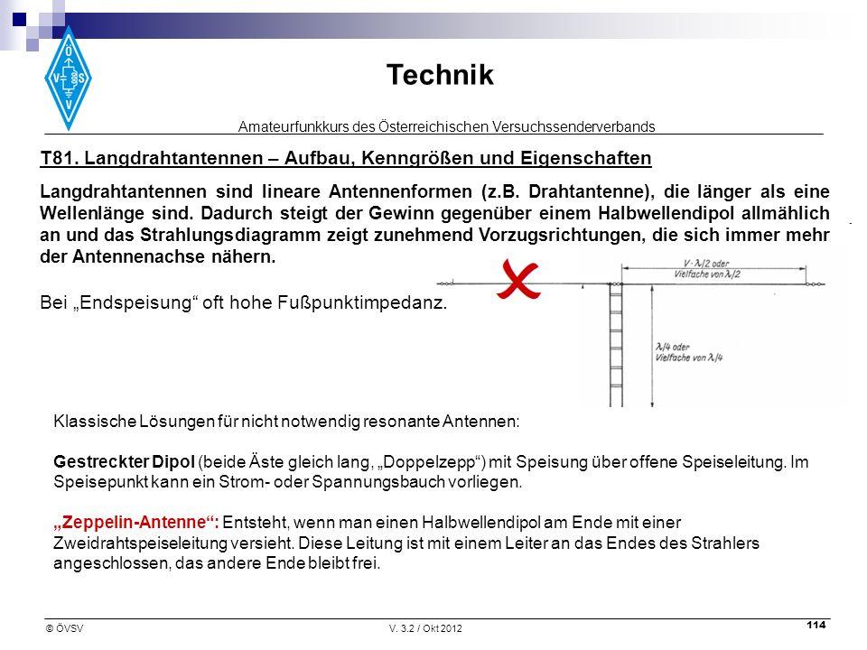 Amateurfunkkurs des Österreichischen Versuchssenderverbands Technik © ÖVSVV. 3.2 / Okt 2012 114 T81. Langdrahtantennen – Aufbau, Kenngrößen und Eigens
