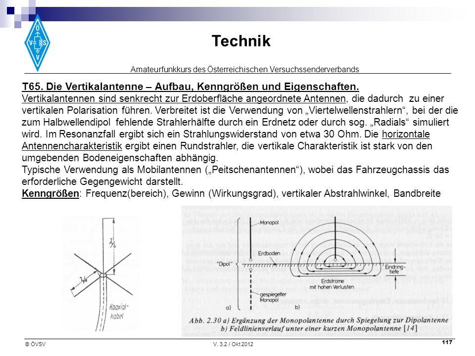 Amateurfunkkurs des Österreichischen Versuchssenderverbands Technik © ÖVSVV. 3.2 / Okt 2012 117 T65. Die Vertikalantenne – Aufbau, Kenngrößen und Eige