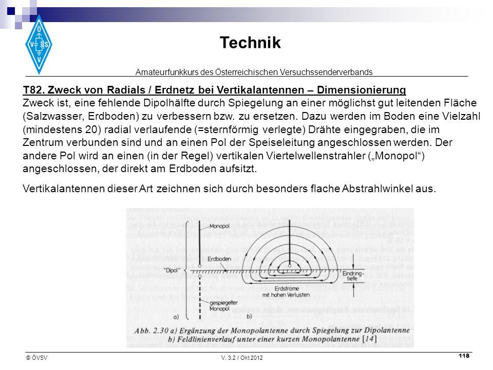 Amateurfunkkurs des Österreichischen Versuchssenderverbands Technik © ÖVSVV. 3.2 / Okt 2012 118 T82. Zweck von Radials / Erdnetz bei Vertikalantennen