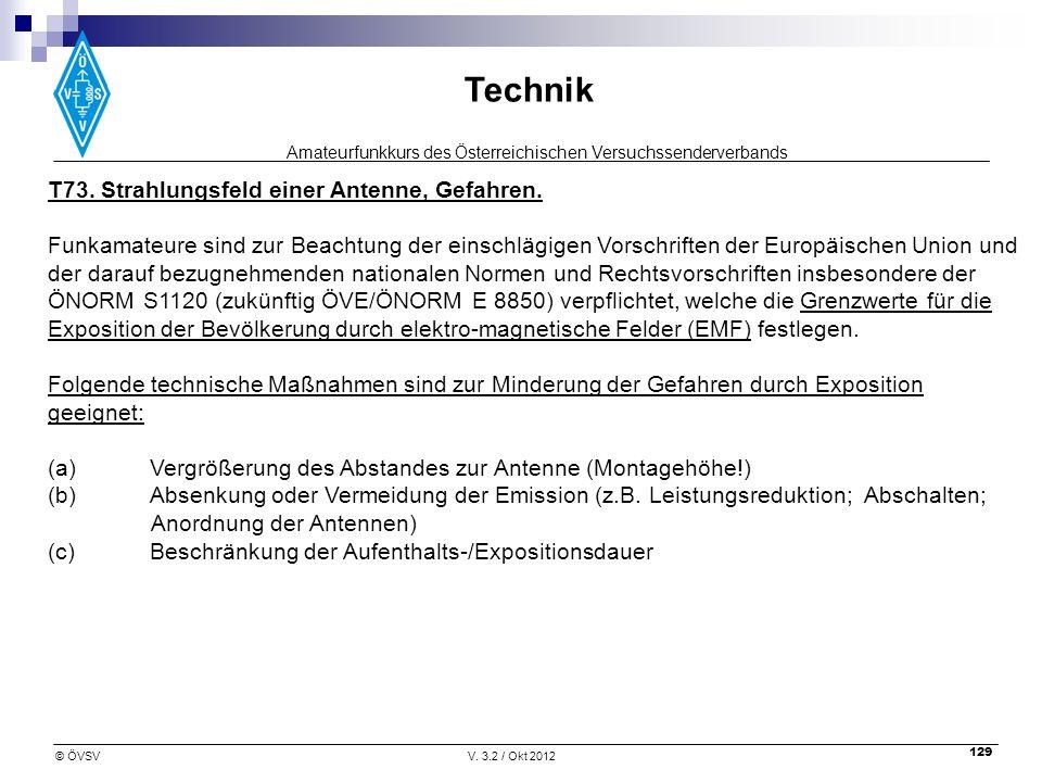 Amateurfunkkurs des Österreichischen Versuchssenderverbands Technik © ÖVSVV. 3.2 / Okt 2012 129 T73. Strahlungsfeld einer Antenne, Gefahren. Funkamate