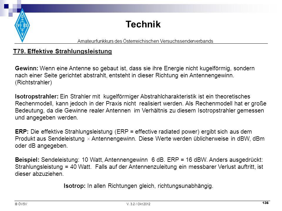 Amateurfunkkurs des Österreichischen Versuchssenderverbands Technik © ÖVSVV. 3.2 / Okt 2012 136 Isotrop: In allen Richtungen gleich, richtungsunabhäng