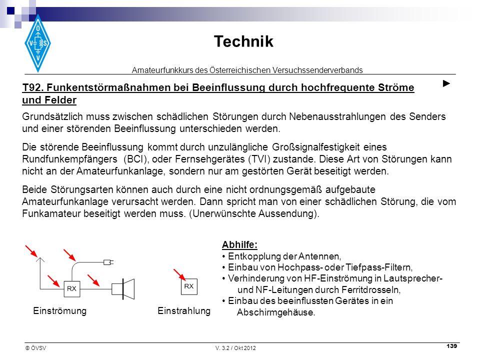 Amateurfunkkurs des Österreichischen Versuchssenderverbands Technik © ÖVSVV. 3.2 / Okt 2012 139 T92. Funkentstörmaßnahmen bei Beeinflussung durch hoch