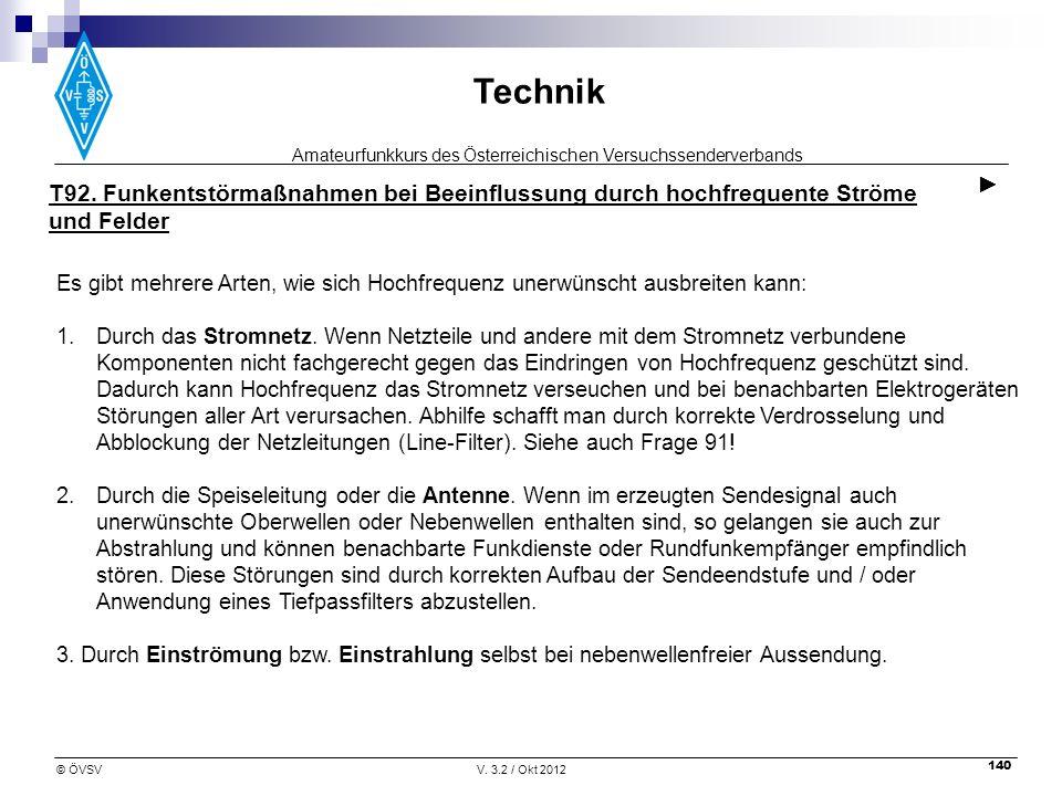 Amateurfunkkurs des Österreichischen Versuchssenderverbands Technik © ÖVSVV. 3.2 / Okt 2012 140 T92. Funkentstörmaßnahmen bei Beeinflussung durch hoch