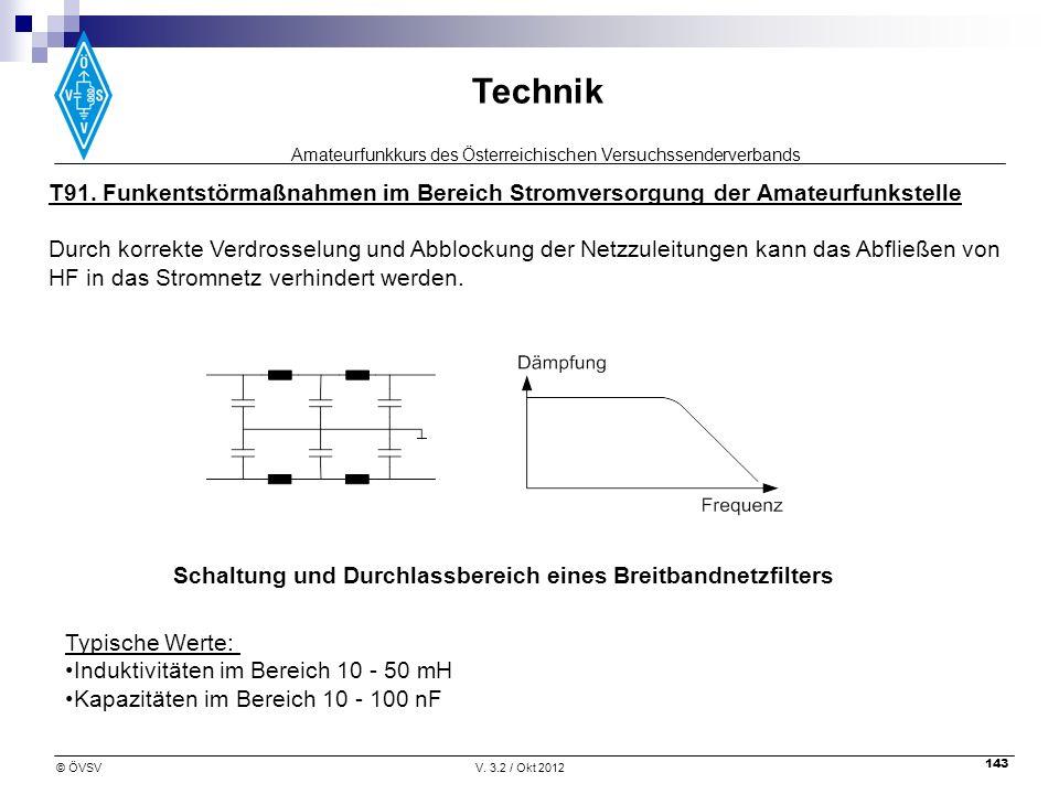 Amateurfunkkurs des Österreichischen Versuchssenderverbands Technik © ÖVSVV. 3.2 / Okt 2012 143 T91. Funkentstörmaßnahmen im Bereich Stromversorgung d