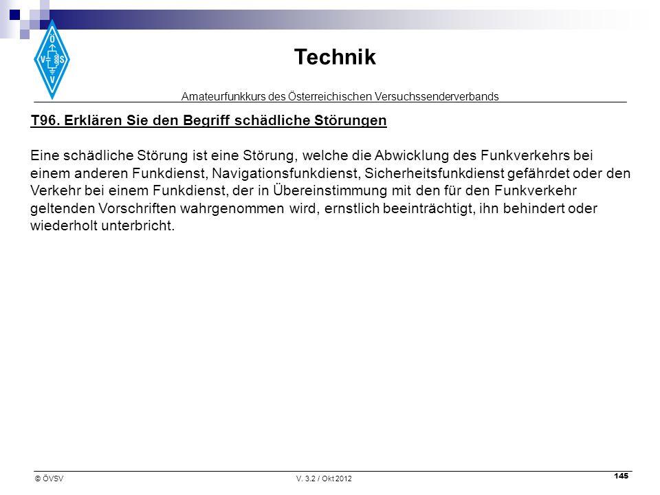 Amateurfunkkurs des Österreichischen Versuchssenderverbands Technik © ÖVSVV. 3.2 / Okt 2012 145 T96. Erklären Sie den Begriff schädliche Störungen Ein
