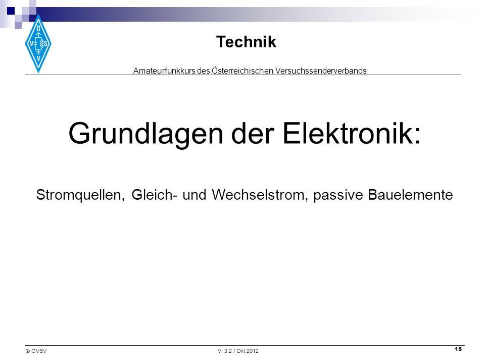 Amateurfunkkurs des Österreichischen Versuchssenderverbands Technik © ÖVSVV. 3.2 / Okt 2012 15 Grundlagen der Elektronik: Stromquellen, Gleich- und We