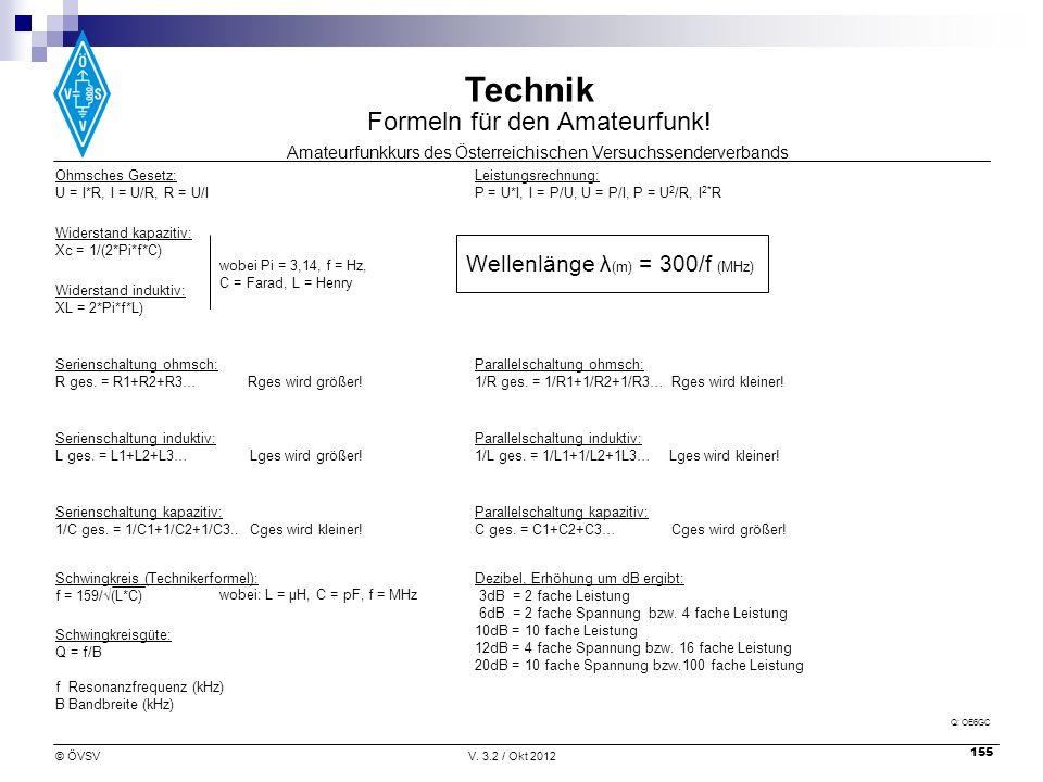 Amateurfunkkurs des Österreichischen Versuchssenderverbands Technik © ÖVSVV. 3.2 / Okt 2012 155 Ohmsches Gesetz: U = I*R, I = U/R, R = U/I Leistungsre