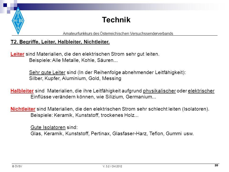 Amateurfunkkurs des Österreichischen Versuchssenderverbands Technik © ÖVSVV. 3.2 / Okt 2012 20 T2. Begriffe, Leiter, Halbleiter, Nichtleiter. Leiter s