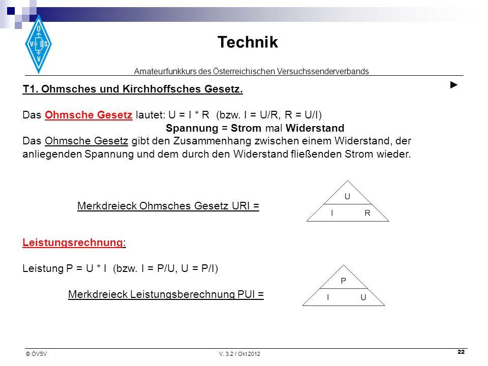 Amateurfunkkurs des Österreichischen Versuchssenderverbands Technik © ÖVSVV. 3.2 / Okt 2012 22 T1. Ohmsches und Kirchhoffsches Gesetz. Das Ohmsche Ges