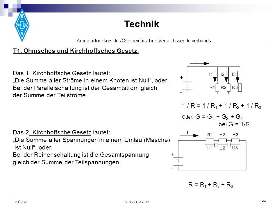 Amateurfunkkurs des Österreichischen Versuchssenderverbands Technik © ÖVSVV. 3.2 / Okt 2012 23 T1. Ohmsches und Kirchhoffsches Gesetz. Das 1. Kirchhof