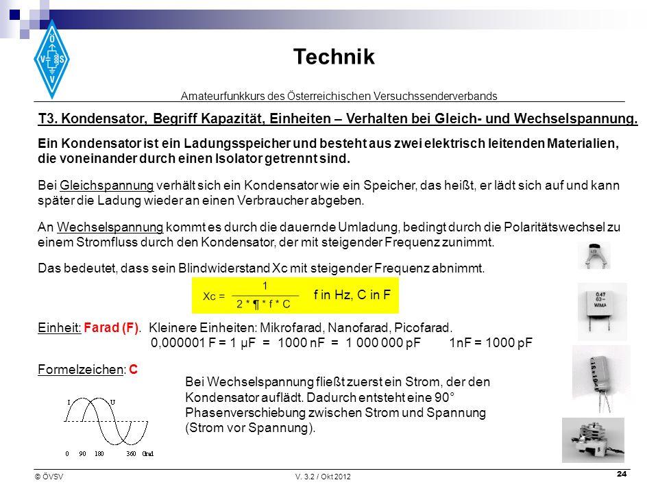 Amateurfunkkurs des Österreichischen Versuchssenderverbands Technik © ÖVSVV. 3.2 / Okt 2012 24 T3. Kondensator, Begriff Kapazität, Einheiten – Verhalt