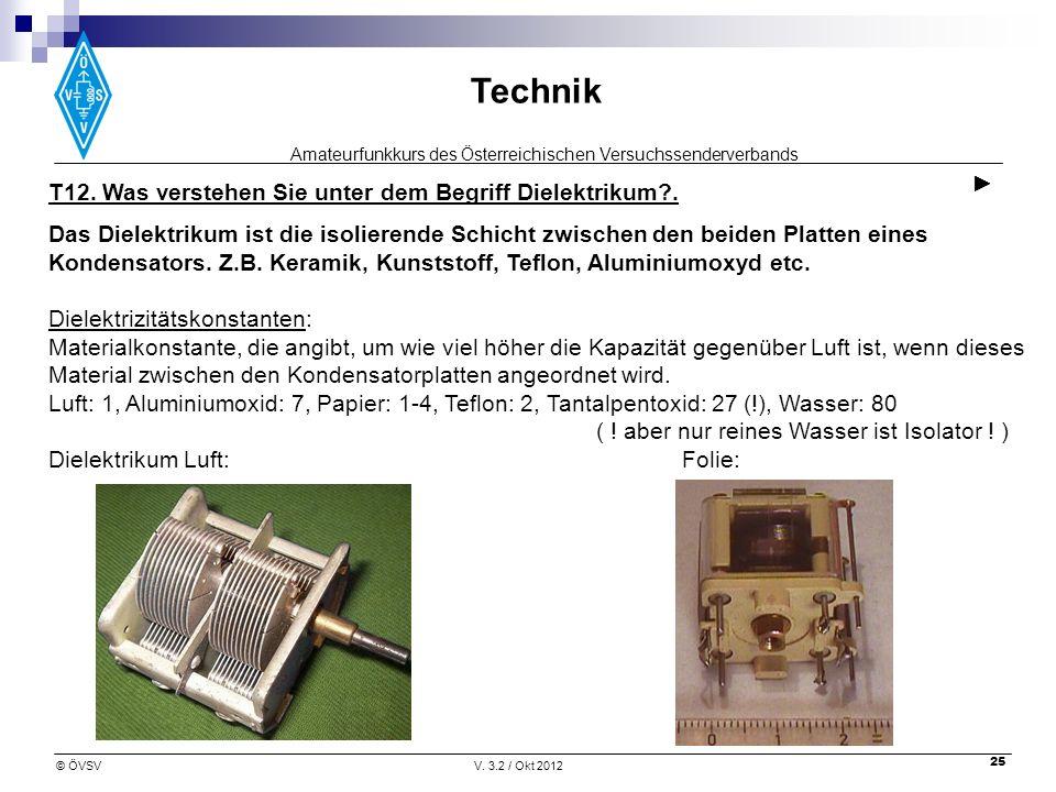 Amateurfunkkurs des Österreichischen Versuchssenderverbands Technik © ÖVSVV. 3.2 / Okt 2012 25 T12. Was verstehen Sie unter dem Begriff Dielektrikum?.
