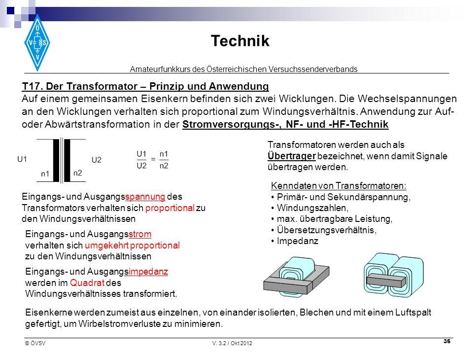 Amateurfunkkurs des Österreichischen Versuchssenderverbands Technik © ÖVSVV. 3.2 / Okt 2012 35 T17. Der Transformator – Prinzip und Anwendung Auf eine