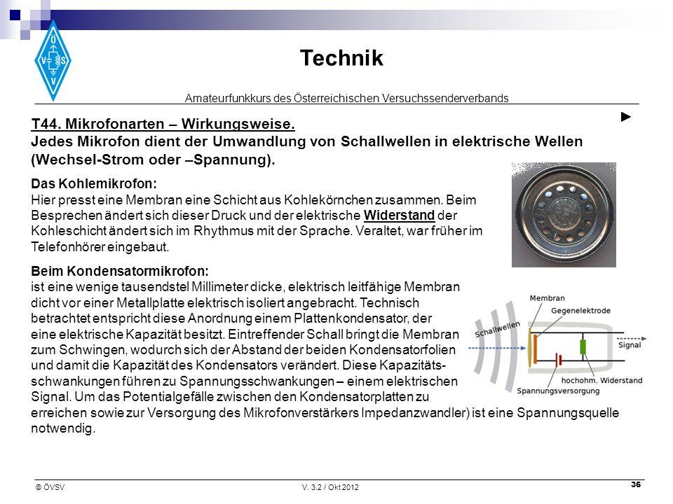 Amateurfunkkurs des Österreichischen Versuchssenderverbands Technik © ÖVSVV. 3.2 / Okt 2012 36 T44. Mikrofonarten – Wirkungsweise. Jedes Mikrofon dien