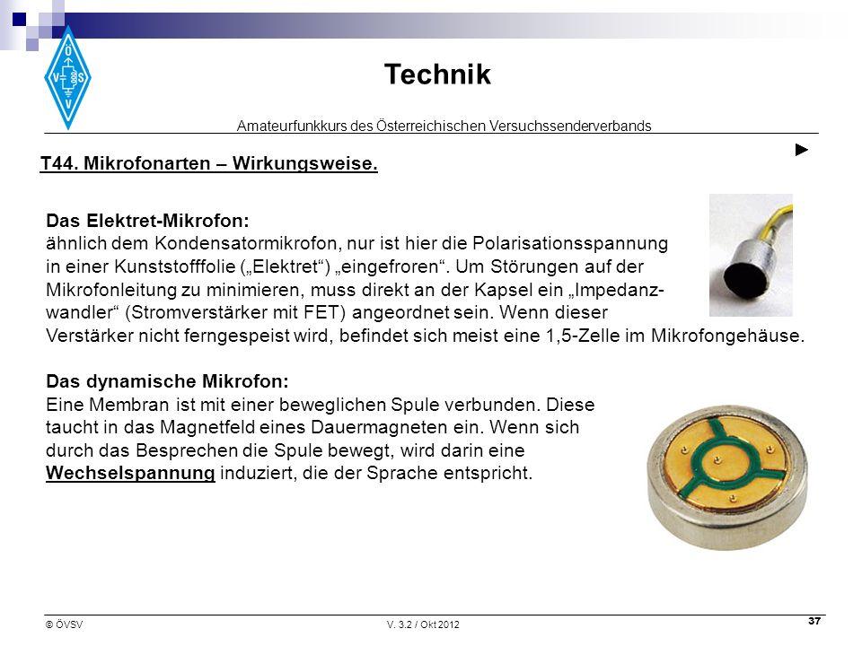 Amateurfunkkurs des Österreichischen Versuchssenderverbands Technik © ÖVSVV. 3.2 / Okt 2012 37 Das Elektret-Mikrofon: ähnlich dem Kondensatormikrofon,
