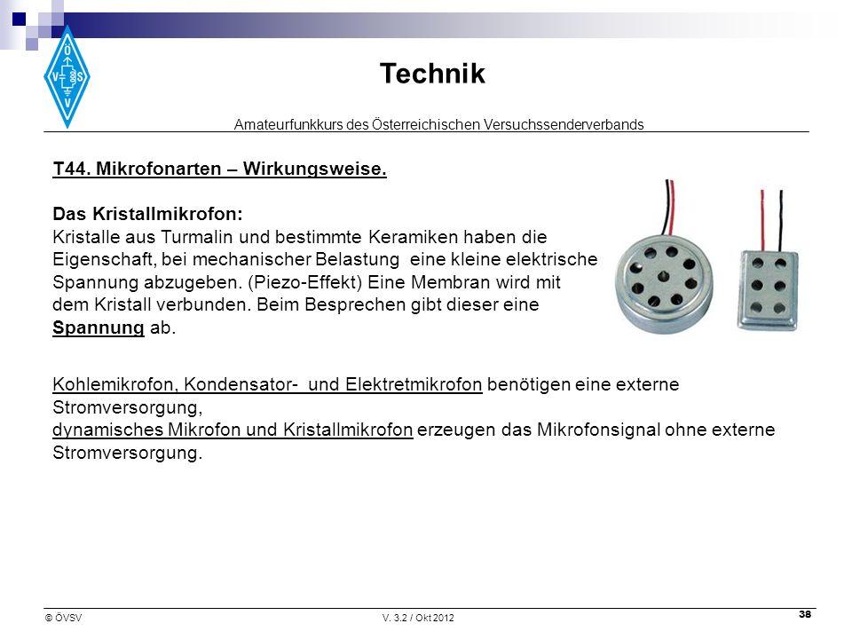 Amateurfunkkurs des Österreichischen Versuchssenderverbands Technik © ÖVSVV. 3.2 / Okt 2012 38 T44. Mikrofonarten – Wirkungsweise. Das Kristallmikrofo