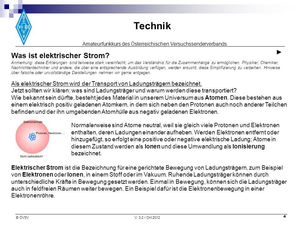 Amateurfunkkurs des Österreichischen Versuchssenderverbands Technik © ÖVSVV. 3.2 / Okt 2012 4 Was ist elektrischer Strom? Anmerkung: diese Erklärungen