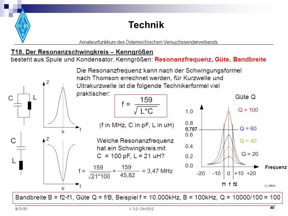 Amateurfunkkurs des Österreichischen Versuchssenderverbands Technik © ÖVSVV. 3.2 / Okt 2012 40 T18. Der Resonanzschwingkreis – Kenngrößen besteht aus