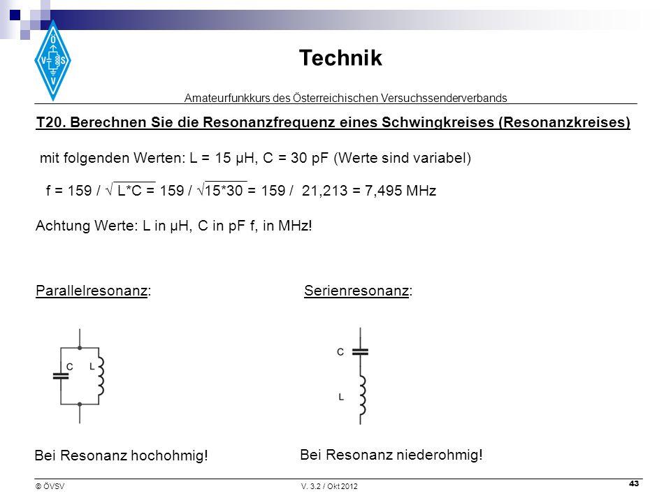 Amateurfunkkurs des Österreichischen Versuchssenderverbands Technik © ÖVSVV. 3.2 / Okt 2012 43 Achtung Werte: L in µH, C in pF f, in MHz! T20. Berechn