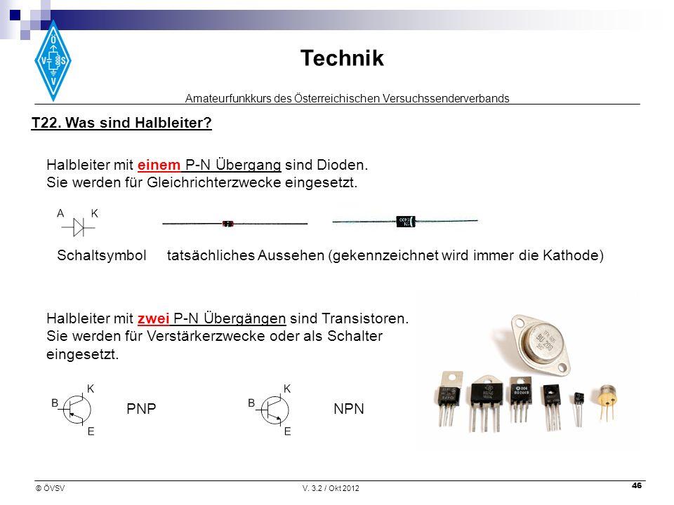 Amateurfunkkurs des Österreichischen Versuchssenderverbands Technik © ÖVSVV. 3.2 / Okt 2012 46 Halbleiter mit zwei P-N Übergängen sind Transistoren. S