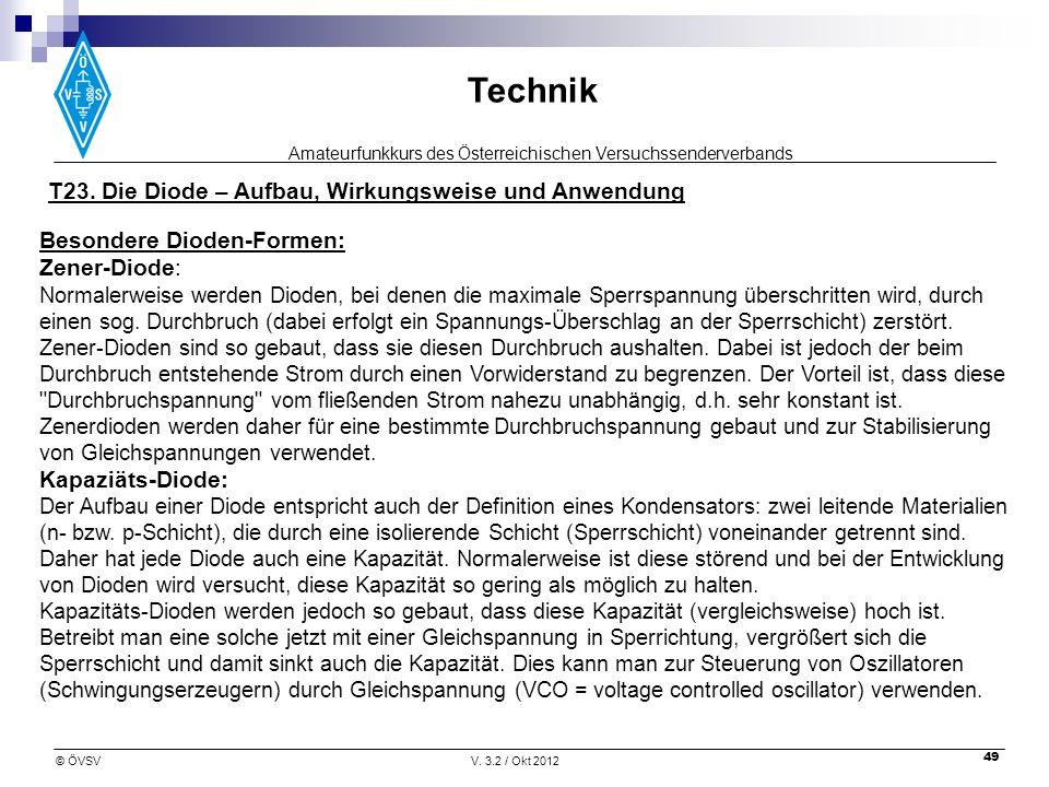 Amateurfunkkurs des Österreichischen Versuchssenderverbands Technik © ÖVSVV. 3.2 / Okt 2012 49 Besondere Dioden-Formen: Zener-Diode: Normalerweise wer