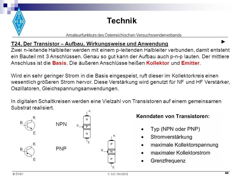 Amateurfunkkurs des Österreichischen Versuchssenderverbands Technik © ÖVSVV. 3.2 / Okt 2012 50 T24, Der Transistor – Aufbau, Wirkungsweise und Anwendu