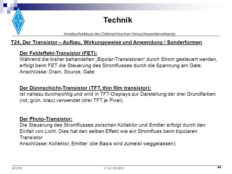 Amateurfunkkurs des Österreichischen Versuchssenderverbands Technik © ÖVSVV. 3.2 / Okt 2012 54 T24, Der Transistor – Aufbau, Wirkungsweise und Anwendu