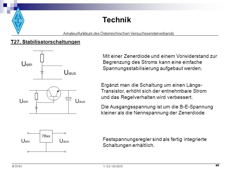 Amateurfunkkurs des Österreichischen Versuchssenderverbands Technik © ÖVSVV. 3.2 / Okt 2012 60 T27. Stabilisatorschaltungen Die Ausgangsspannung ist u