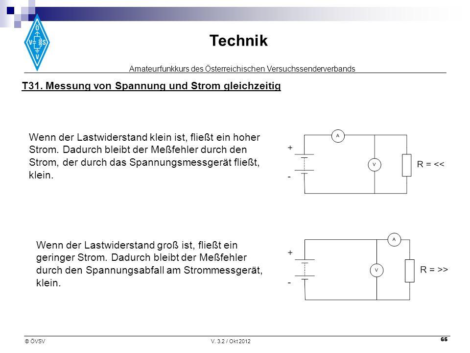 Amateurfunkkurs des Österreichischen Versuchssenderverbands Technik © ÖVSVV. 3.2 / Okt 2012 65 T31. Messung von Spannung und Strom gleichzeitig Wenn d