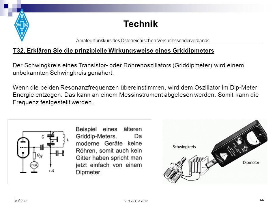 Amateurfunkkurs des Österreichischen Versuchssenderverbands Technik © ÖVSVV. 3.2 / Okt 2012 66 T32. Erklären Sie die prinzipielle Wirkungsweise eines