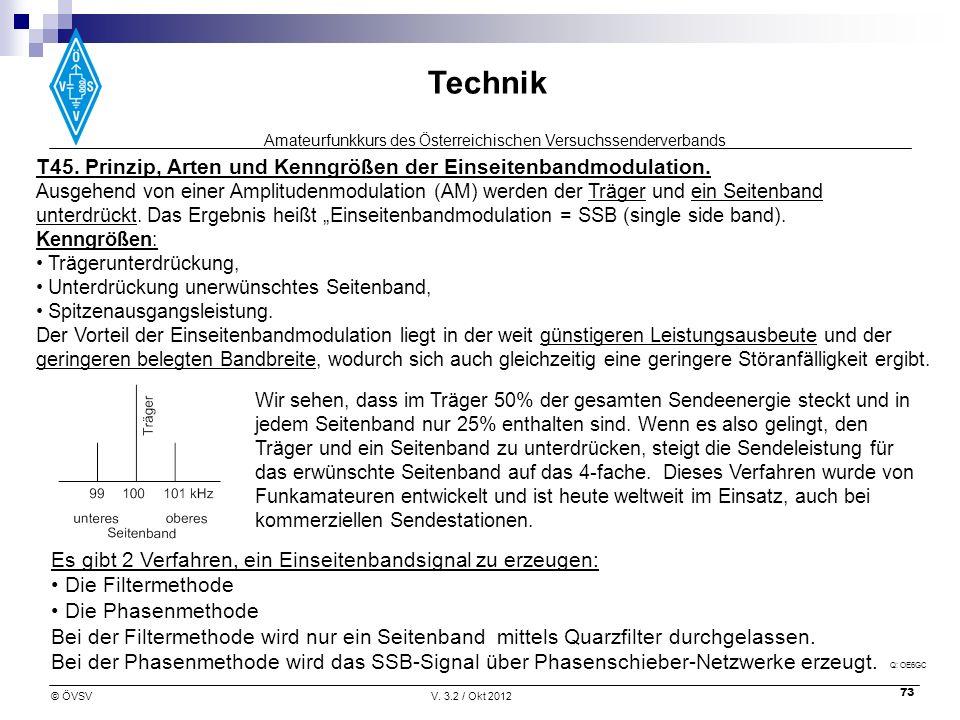 Amateurfunkkurs des Österreichischen Versuchssenderverbands Technik © ÖVSVV. 3.2 / Okt 2012 73 T45. Prinzip, Arten und Kenngrößen der Einseitenbandmod