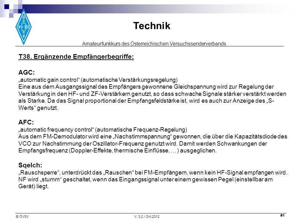 Amateurfunkkurs des Österreichischen Versuchssenderverbands Technik © ÖVSVV. 3.2 / Okt 2012 81 T38. Ergänzende Empfängerbegriffe: AGC: automatic gain