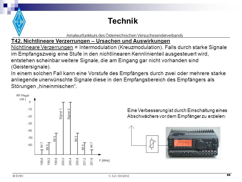 Amateurfunkkurs des Österreichischen Versuchssenderverbands Technik © ÖVSVV. 3.2 / Okt 2012 85 T42. Nichtlineare Verzerrungen – Ursachen und Auswirkun