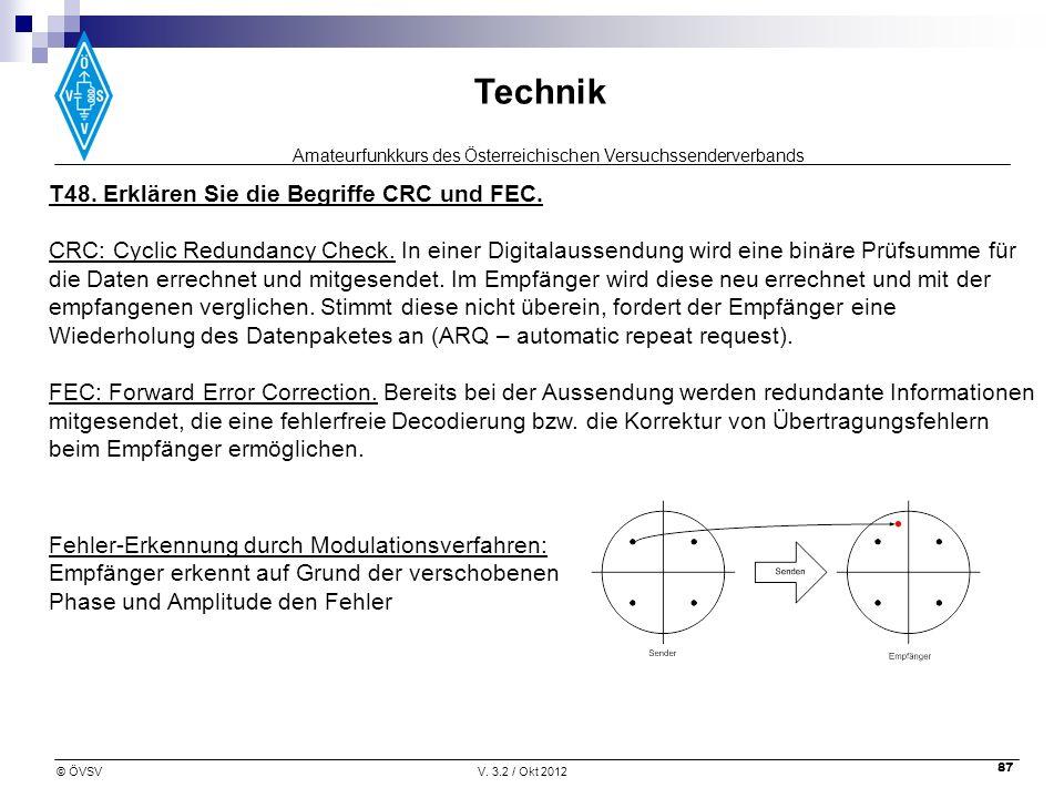 Amateurfunkkurs des Österreichischen Versuchssenderverbands Technik © ÖVSVV. 3.2 / Okt 2012 87 T48. Erklären Sie die Begriffe CRC und FEC. CRC: Cyclic