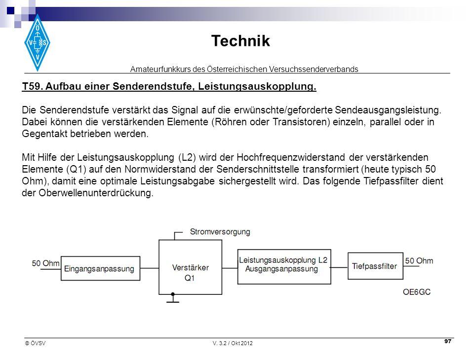 Amateurfunkkurs des Österreichischen Versuchssenderverbands Technik © ÖVSVV. 3.2 / Okt 2012 97 T59. Aufbau einer Senderendstufe, Leistungsauskopplung.