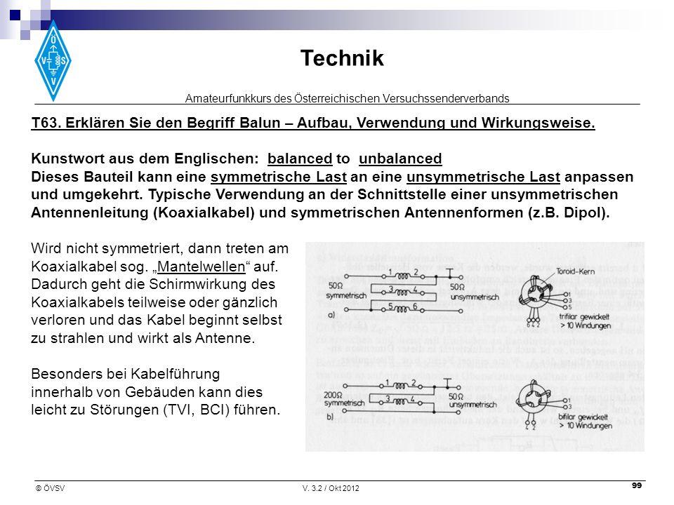 Amateurfunkkurs des Österreichischen Versuchssenderverbands Technik © ÖVSVV. 3.2 / Okt 2012 99 T63. Erklären Sie den Begriff Balun – Aufbau, Verwendun