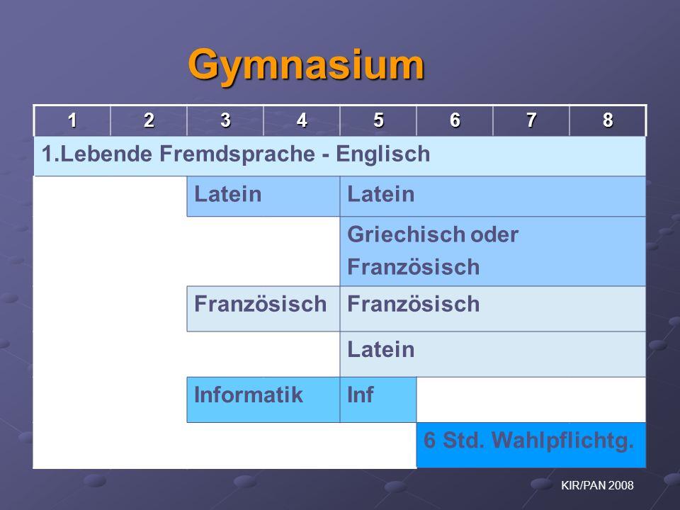 KIR/PAN 2008 Gymnasium 12345678 1.Lebende Fremdsprache - Englisch Latein Griechisch oder Französisch Latein InformatikInf 6 Std. Wahlpflichtg.