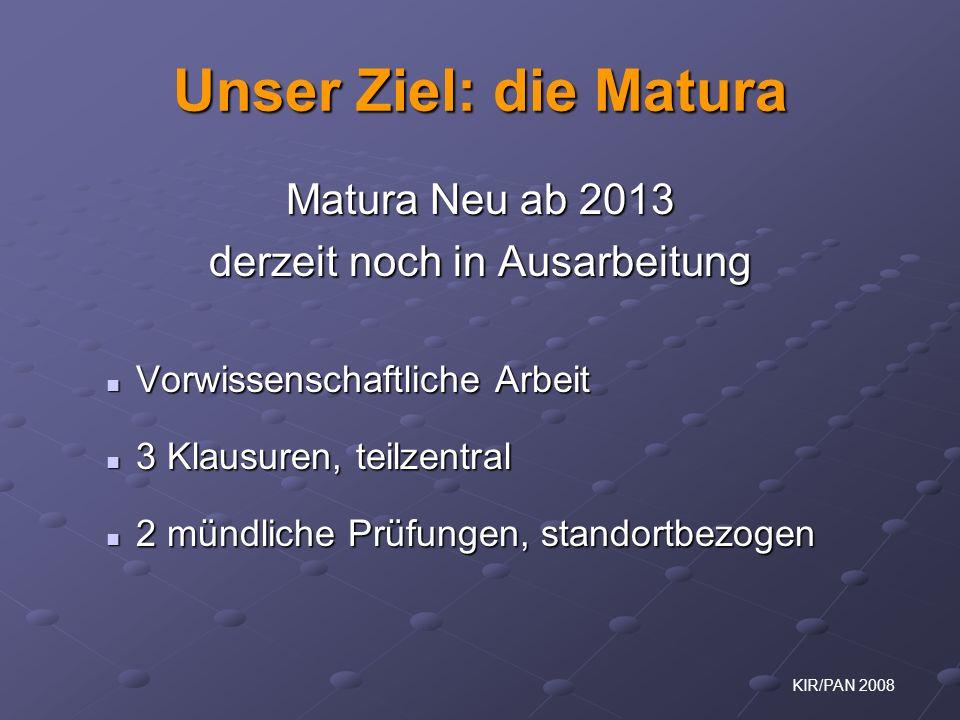 KIR/PAN 2008 Unser Ziel: die Matura Matura Neu ab 2013 derzeit noch in Ausarbeitung Vorwissenschaftliche Arbeit Vorwissenschaftliche Arbeit 3 Klausure