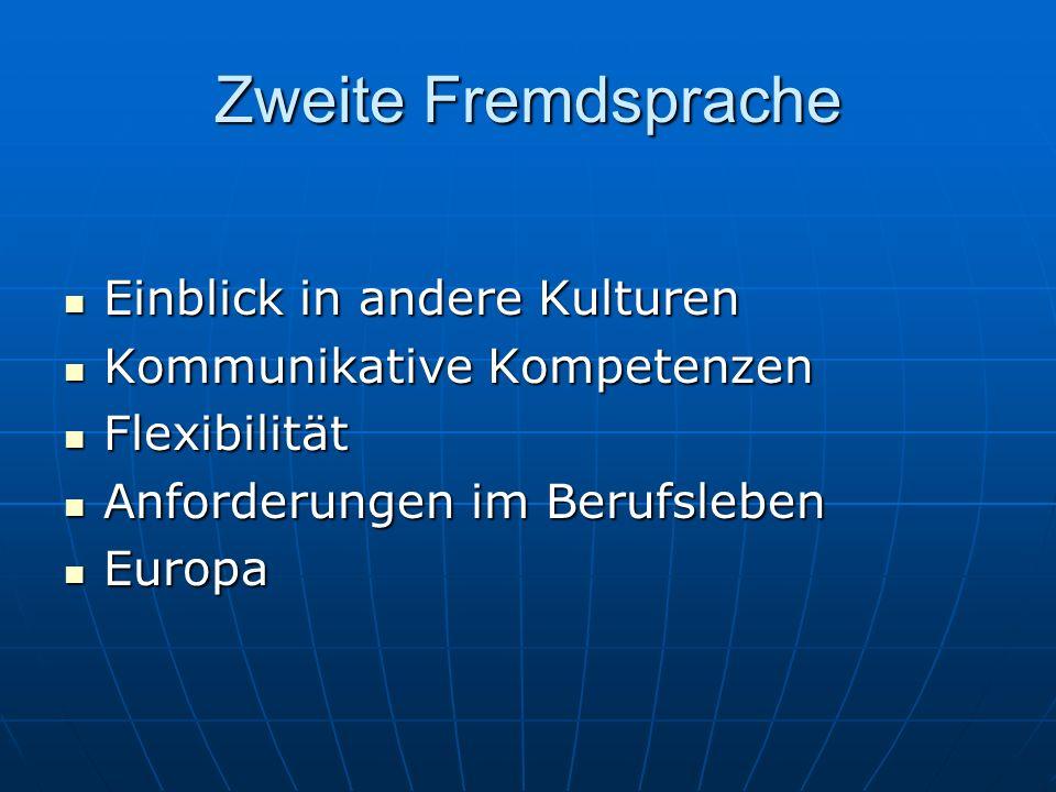 Zweite Fremdsprache Einblick in andere Kulturen Einblick in andere Kulturen Kommunikative Kompetenzen Kommunikative Kompetenzen Flexibilität Flexibili