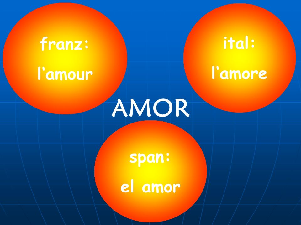 AMOR franz: lamour ital: lamore span: el amor
