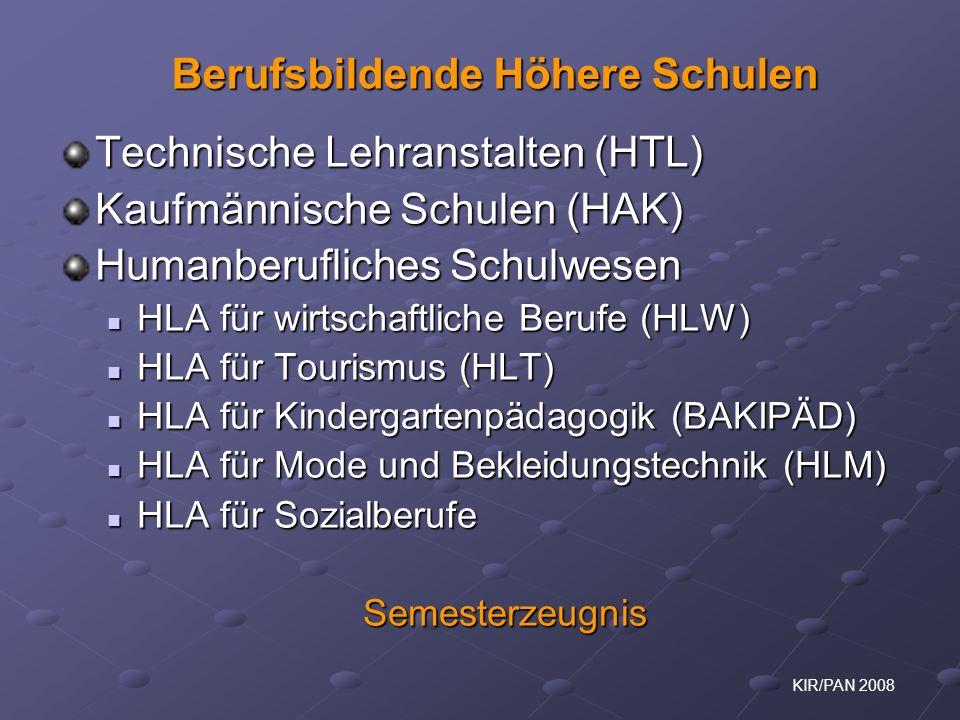 KIR/PAN 2008 Technische Lehranstalten (HTL) Kaufmännische Schulen (HAK) Humanberufliches Schulwesen HLA für wirtschaftliche Berufe (HLW) HLA für wirts