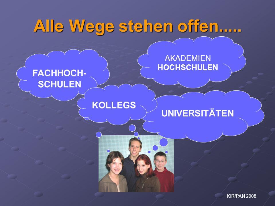 KIR/PAN 2008 Ausbildungsmöglichkeiten zum / zur TECHNIKER / IN in Österreich Rudolf Heuer Zentrum für Allgemeine Mechanik & Baudynamik Mitglied in div.