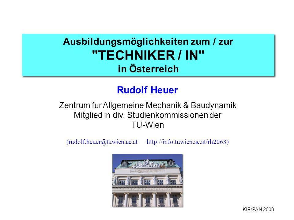 KIR/PAN 2008 Ausbildungsmöglichkeiten zum / zur