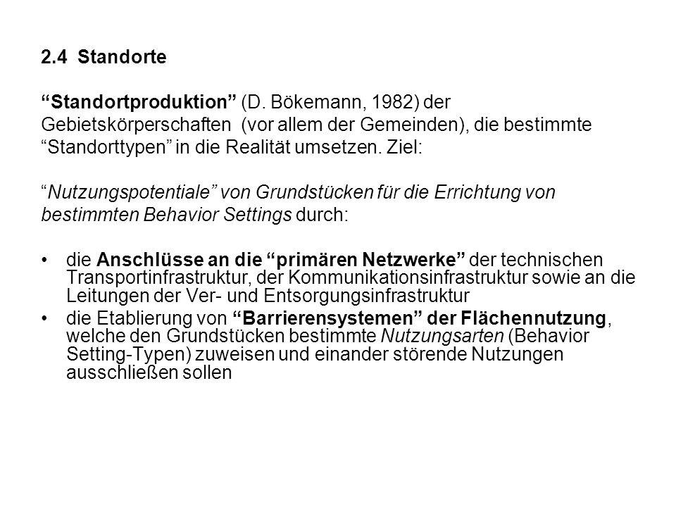 2.4 Standorte Standortproduktion (D. Bökemann, 1982) der Gebietskörperschaften (vor allem der Gemeinden), die bestimmte Standorttypen in die Realität